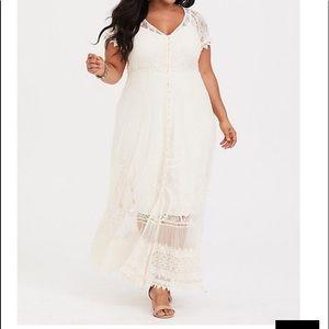 Cream pretty feminine lace Maxi Dress New Sz 3x